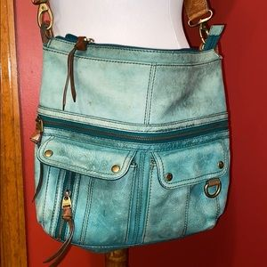 Fossil- teal green leather purse